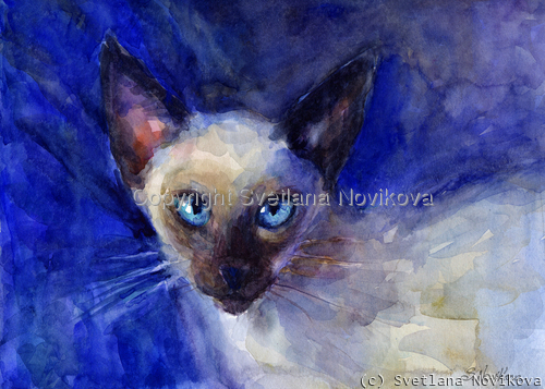 impressionistic watercolor blue eyed siamese cat painting by russian artist Svetlana Novikova (large view)
