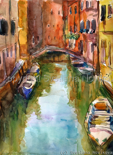 Venice Italy canal Watercolor painting Novikova (large view)