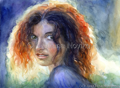 Colorful sunlit watercolor young woman portrait by impressionistic artist Svetlana Novikova (large view)