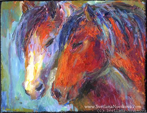 Vibrant Impasto Acrylic Horse painting Novikova (large view)