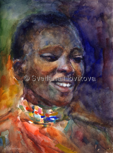Ethnic woman Portrait painting Watercolor Novikova (large view)