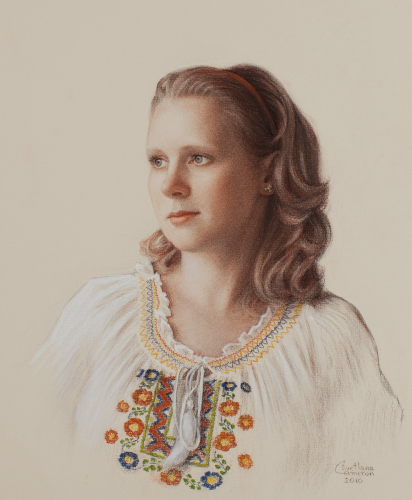 Portrait of a lady in embroidered blouse