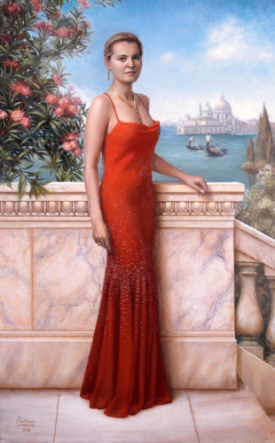 Lady in Red. Portrait of Mrs M. Warwick.