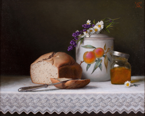 Still Life with Lavender and Bread