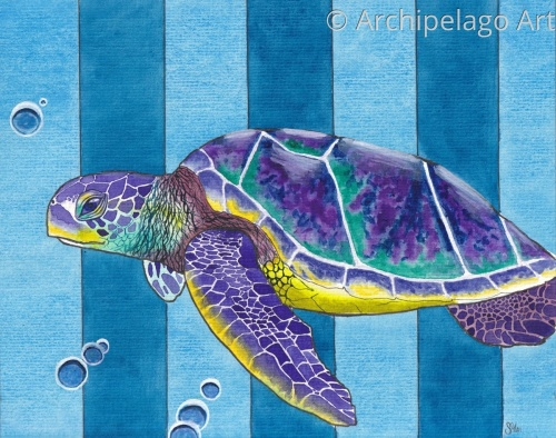 Sea Turtle on Striped Wallpaper