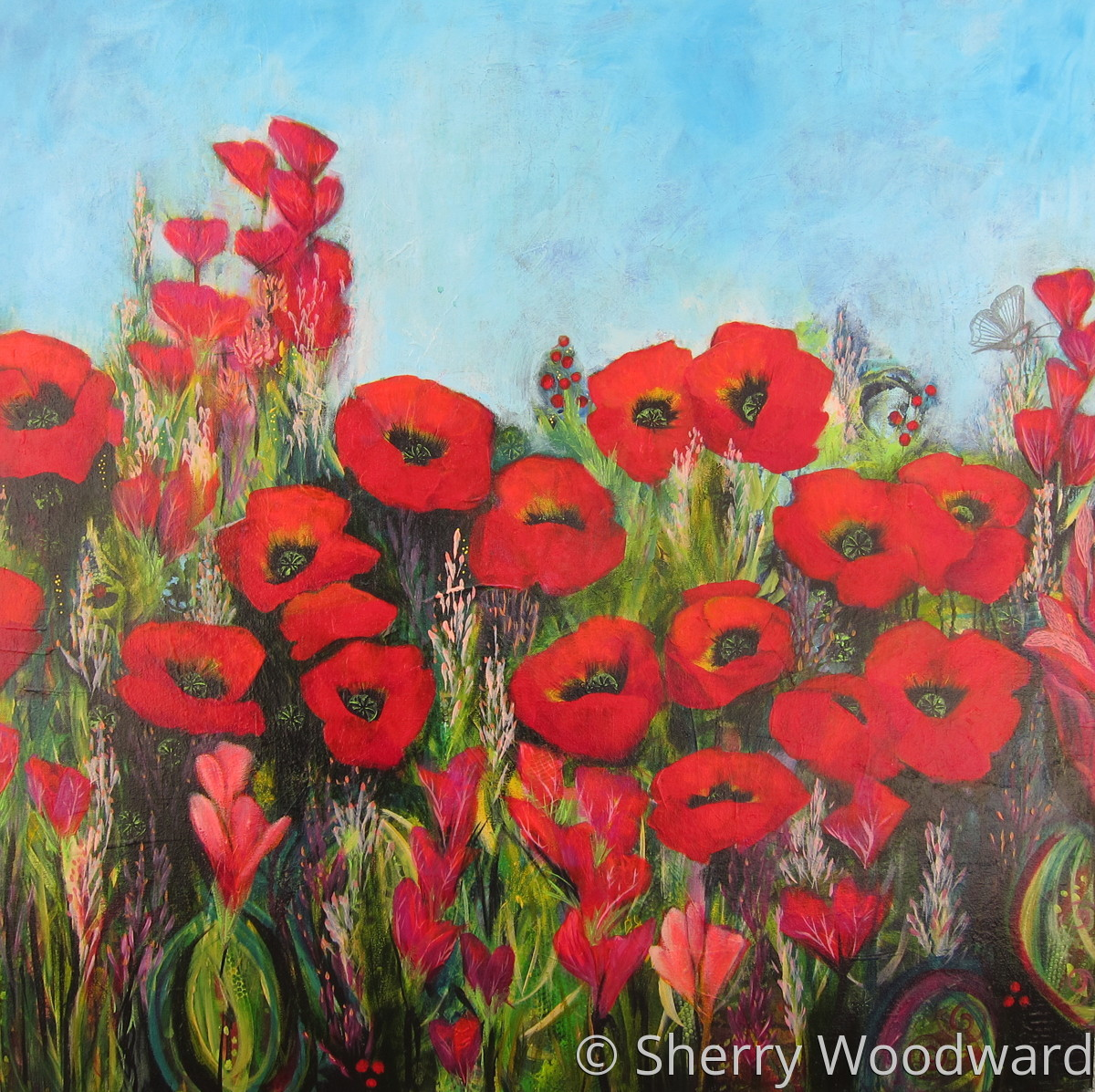 Botanical Acrylic Paintings Poppy Field By Sherry Woodward