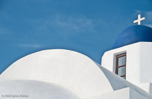 SANTORINI BLUE AND WHITE by Sylvia Patton Photography