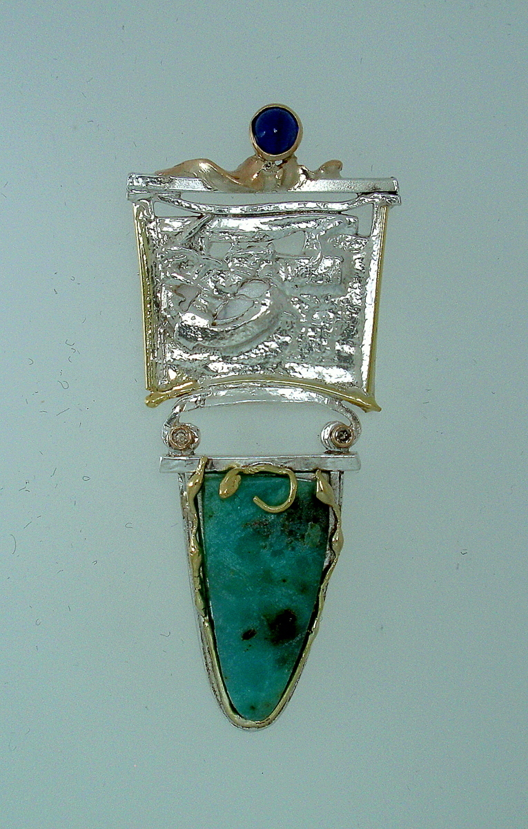MP-8 Chrysoprase, Iolite, 18kt and14kt gold, Diamonds, Fused Silver Brooch    (large view)