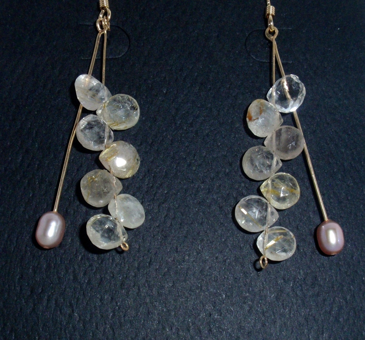 "HG-96 Rutilated Quartz, Pink oval Pearls, G.F.  earwires, 2"" long (large view)"