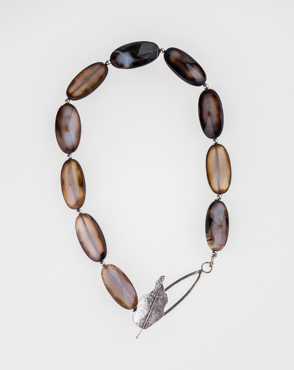 """183-MN Faceted Grey Agate, Silver, 20"""" (large view)"""