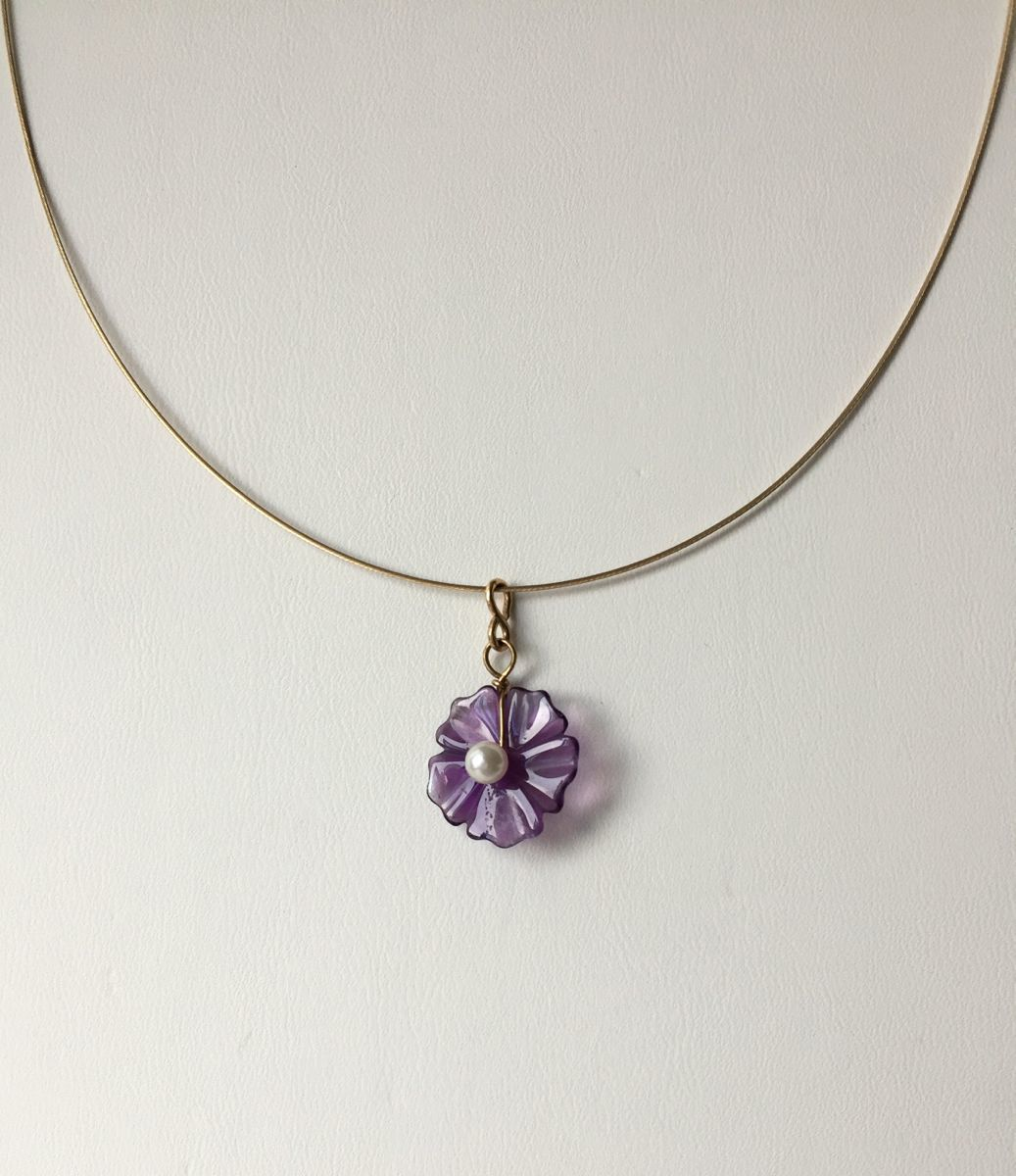 384 - MN Amethyst, Pearl, 14Kt Gold (large view)