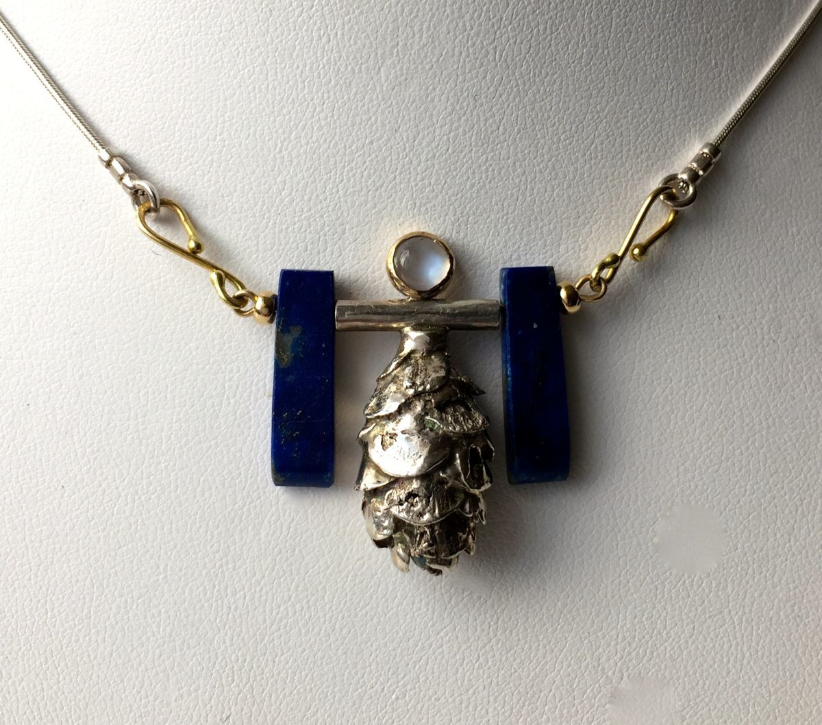 236- MN Lapis Lazuli, Silver Acorn, Moonstone, 18kt Gold (large view)