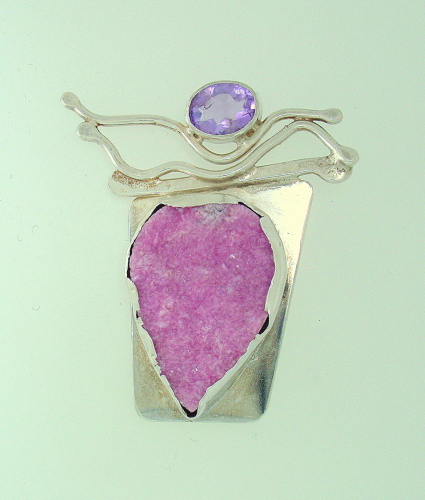MP-47 Cobalt Druzi Amethyst Silver Brooch by Sylvia's Design Jewelry