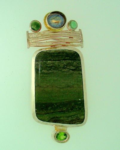 "MP-45 Peridot, Tourmaline, Labradorite, Jasper, 18kt Gold                                                size 3"" x1.1/4"" by Sylvia's Design Jewelry"