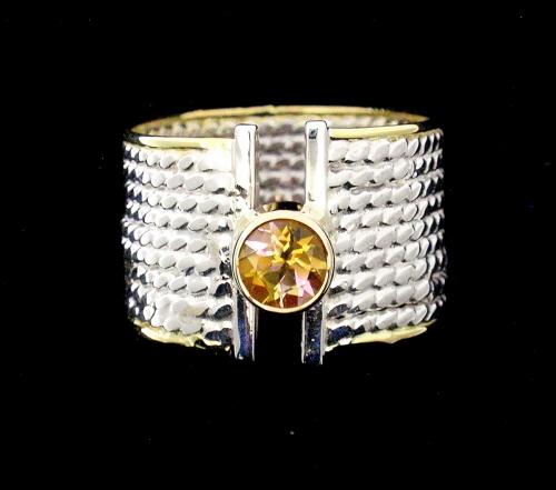 RS-85 Dark Yellow Tourmaline, Argentium and 18kt  Gold.  size 8 1/2