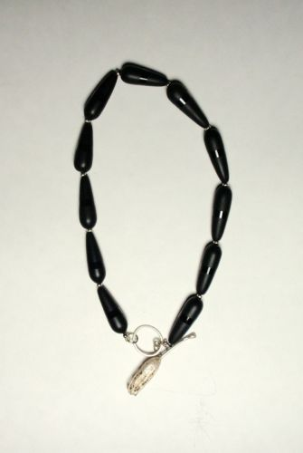 "181- MN Frosted Black Onyx, Cast Silver Toggle, 18"" long"