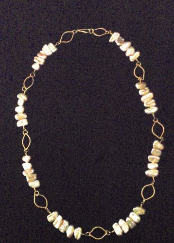 411- MN Peach Keishi Pearls, Gold Filled