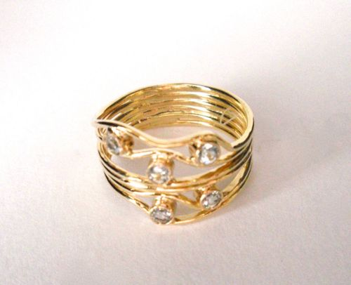 RS- 128 Weaves 18Kt Gold, Blue Topaz by Sylvia's Design Jewelry