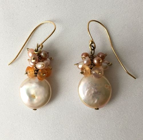 HG-225 Peach Keishi Pearls, 14 Kt Gold