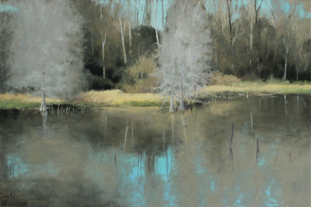 Study: Pond with Winter Trees (large view)
