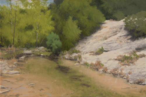 Evergreens by a Sandy Stream by Harold Joiner