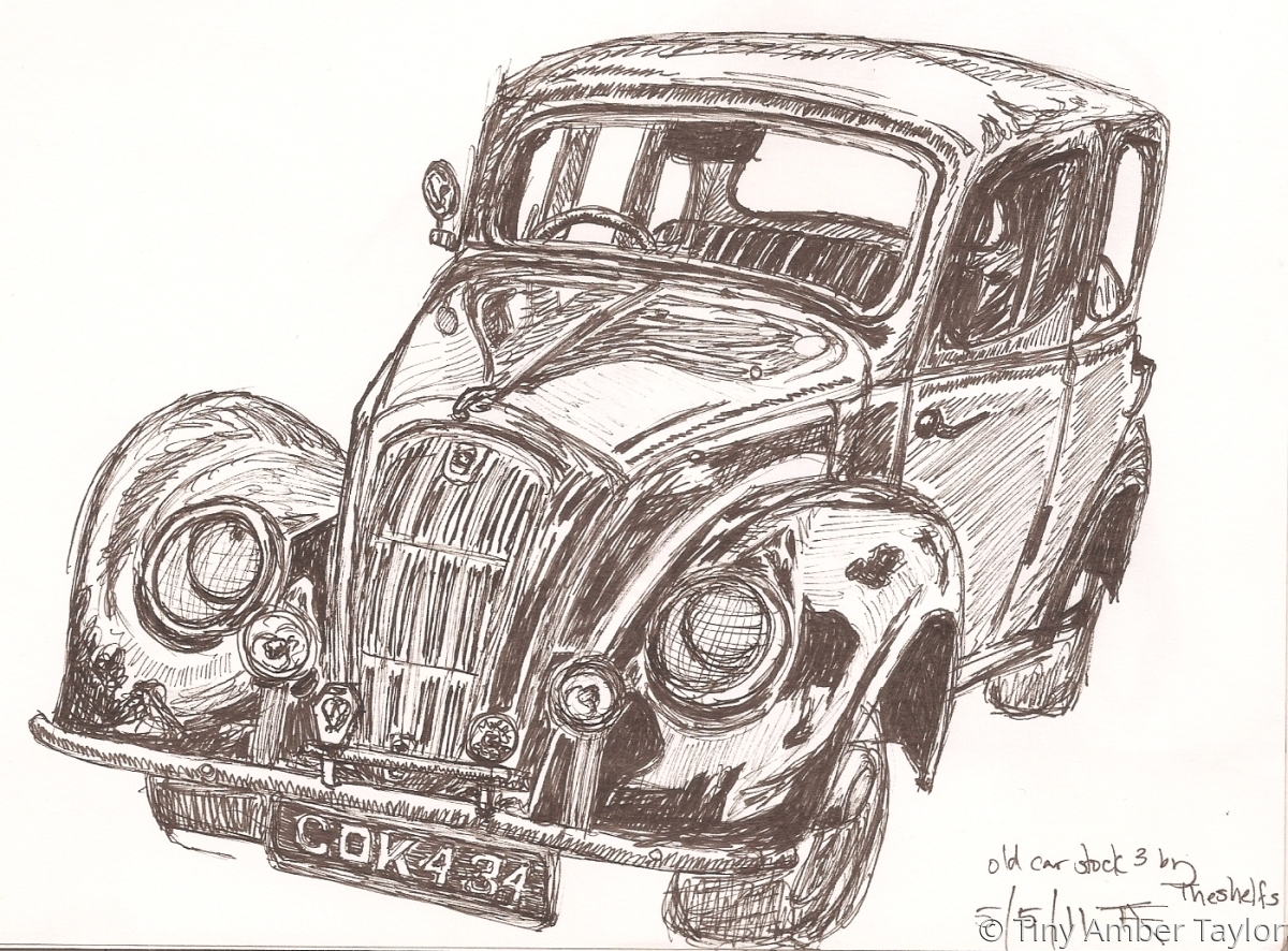 An old British car in black Indian ink on a white background (large view)