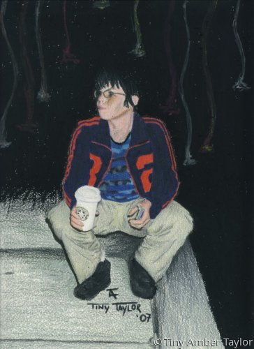Full length portrait of a woman squatting on the sidewalk at night, looking to her right, whilst holding a Starbucks coffee and a cellphone. (large view)