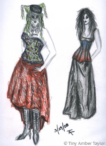 Coloured pencil sketch of two women in gothic dresses. (large view)