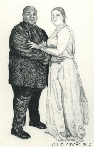 A couple, african american and caucasian, full length, formal dress (large view)