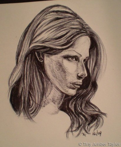 Portrait in ballpoint pen on paper. (large view)
