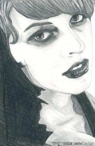 A portrait of Milla Jovovich in graphite.   (large view)