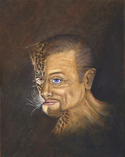 Abstract self-portrait of the artist with half of his face morphing into a jaguar. (thumbnail)