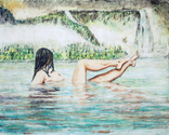 Watercolor/ tempra painting of a bare, naked lady bathing in a mountain stream by a waterfall. (thumbnail)