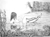Pencil drawing of naken woman bathing in a tropical lagoon with little animals stirring about. (thumbnail)