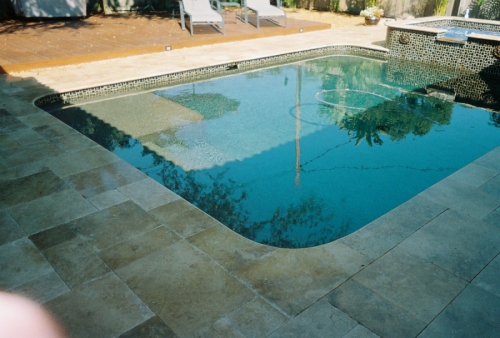 Custom marble pool deck