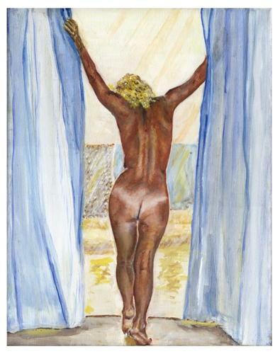 Blue curtain nude