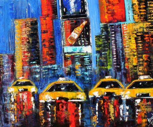 Painting-Oil-Times Square Reflections