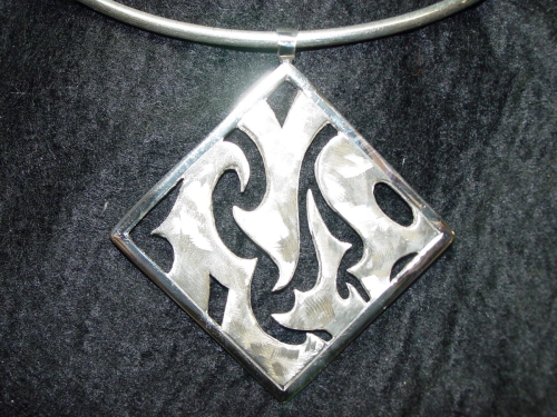 Sterling Silver Square Design Pendant
