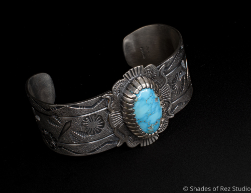 Stamped Dragonfly Cuff with Natural Turquoise