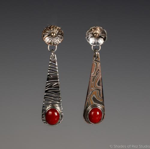 Asymetrical Coral Earrings