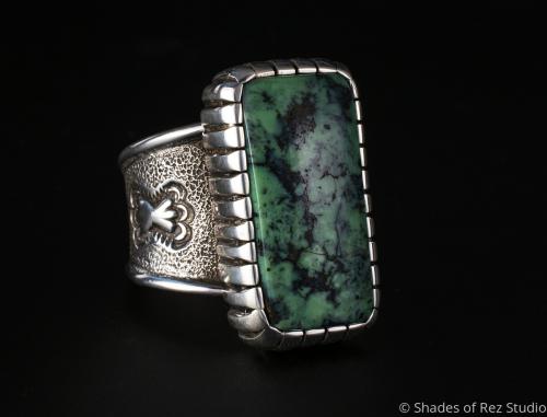 Natural Broken Arrow Turquoise Ring