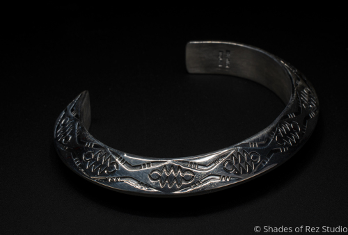 Large Stamped Triangular Sterling Silver Cuff