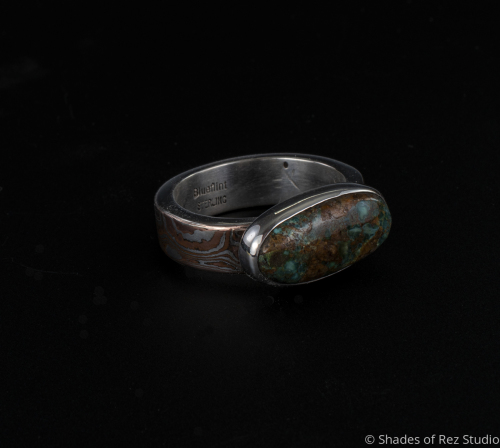Mokume Gane and Pilot Mountain Turquoise Ring