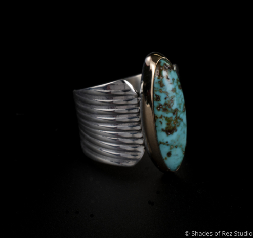 Silver, Gold and Candelaria Turquoise Ring