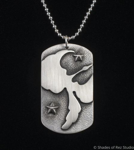 Overlay Waterbird Dog Tag Necklace