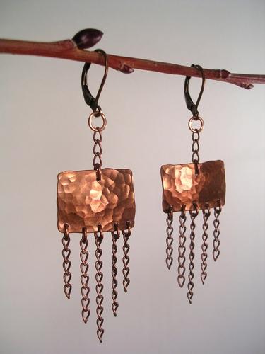 Olde World Copper 'n Chain Earrings