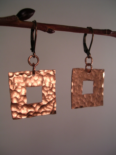 Squared Copper Earrings by Metallack