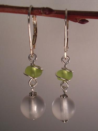 Twist of lime Silver earrings