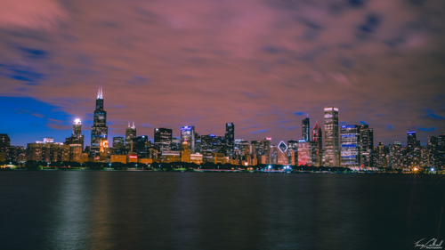 Downtown Chicago (Night time) by Tony Cottrell