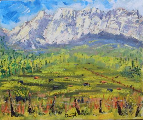 Plein Air-Quiet Pasture, San Juans,CO by Terry Ouimet Fine Art